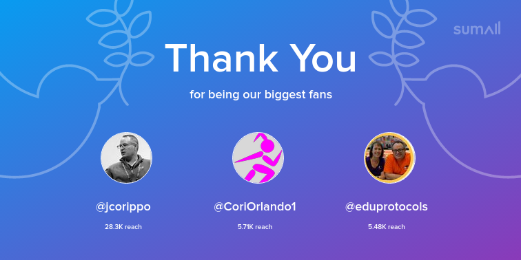 Our biggest fans this week: jcorippo, CoriOrlando1, eduprotocols. Thank you! via sumall.com/thankyou?utm_s…