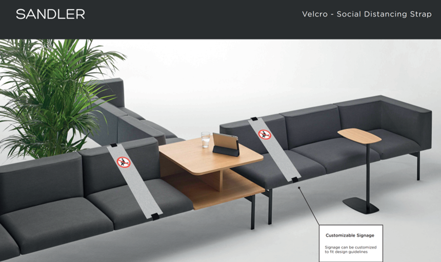 Sandler Social Distancing Products Now Available  Velcro - Social distancing strap, brushed aluminium strap which can be easily attached and removed.   Contact us to find out more...   #seating #social_distancing #covid19