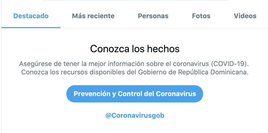 Continuamos localizando las notificaciones de búsqueda con respecto a COVID-19. Gracias a la colaboración con el  @maprerd, ahora las notificaciones en República Dominicana dirigen a las personas a los recursos de @Coronavirusgob.