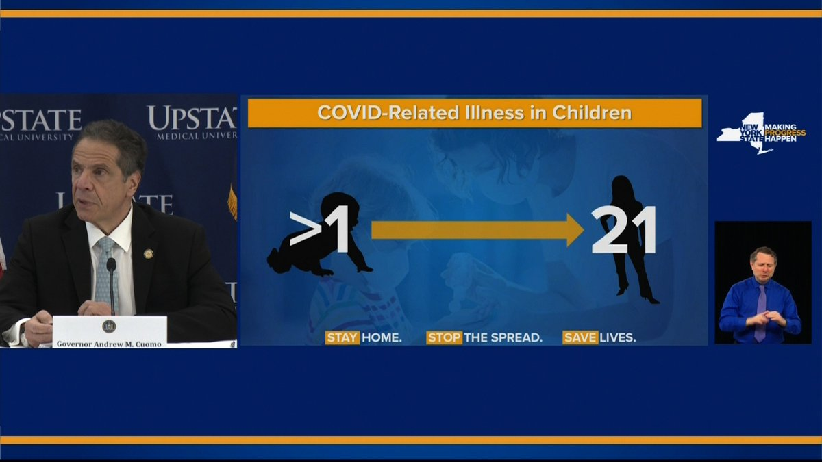 New York's Department of Health is looking into more than 100 cases of Covid-related illness in children, Gov. Cuomo says. Patients range in age from less than 1 years old to 21 years old.  https://t.co/32QZXaQ9VZ https://t.co/72poAJMIy7
