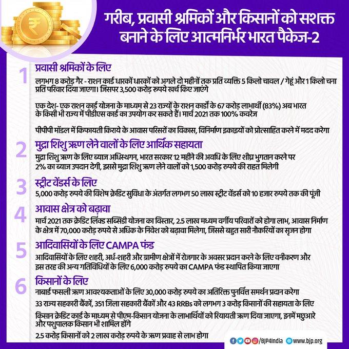 आत्मनिर्भर भारत पैकेज भाग 2, जिसके केन्द्र में गरीब, प्रवासी कामगार और किसान हैं, यह न केवल उनकी कोरोना संकट से उत्पन्न कठिनाइयों से निपटने में मदद करेगा, बल्कि उन्हें खाद्य और सामाजिक सुरक्षा, रोजगार व सशक्तिकरण प्रदान करने में मील का पत्थर साबित होगा। #AatmaNirbharBharatPackage