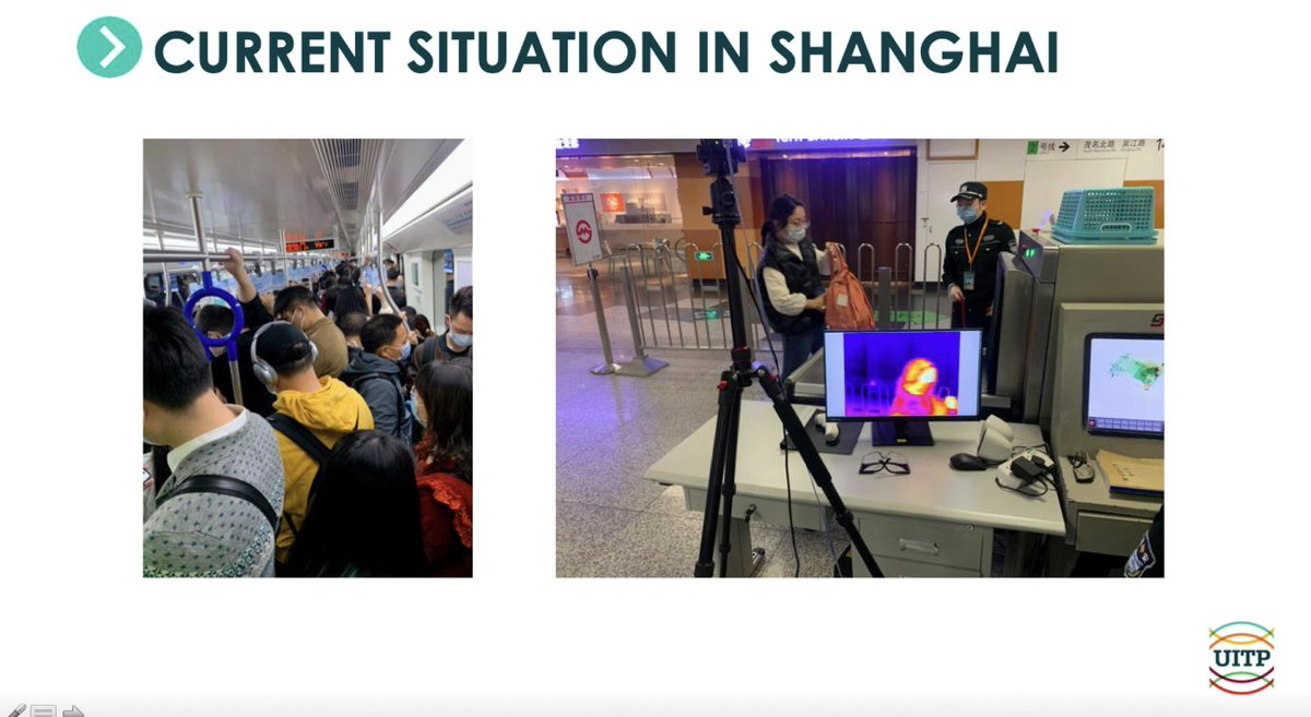 Anne Mathieu, Managing Director, @groupekeolis, presenting the measures adopted in #shangai to smoothly come back to public transport systems. Compulsory use of masks, NO physical distancing and random temperature checks in some stations. pic.twitter.com/kEIFiv8NiC