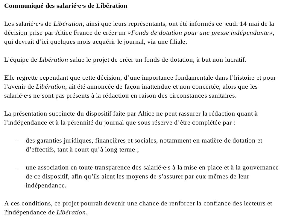 Communiqué des salarié·e·s de «Libération»