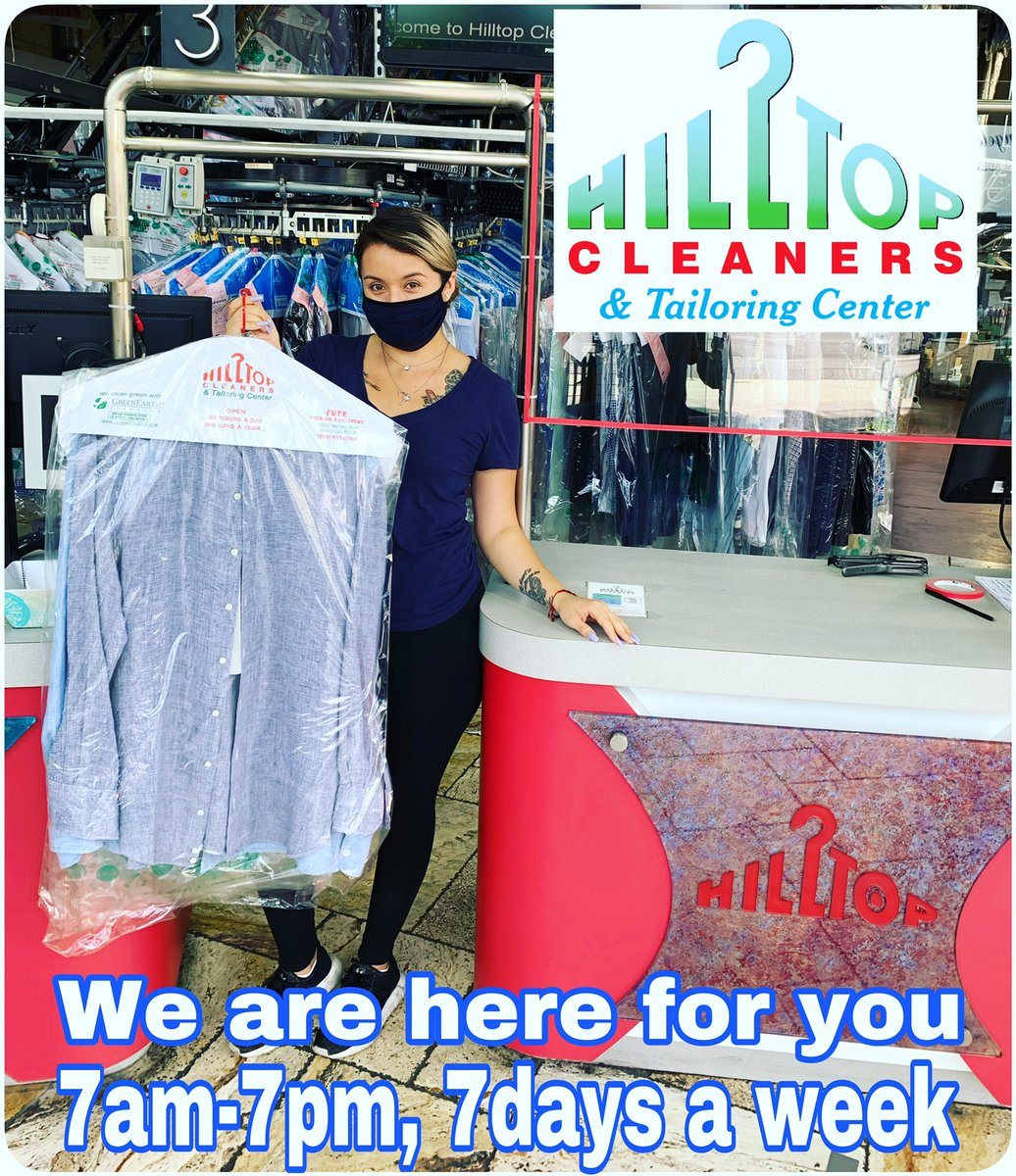 Come on in!! We are still open for business, 7am-7pm, 7 Days a week. We also have our #Tailors on site from 10am-3pm 7 days a week. We are here for all ur #drycleaning needs. We also have free #delivery!! Call us today 818-501-2266 #hilltopcleaners #encino #drycleaners #laundrypic.twitter.com/L4Kxxm0diK