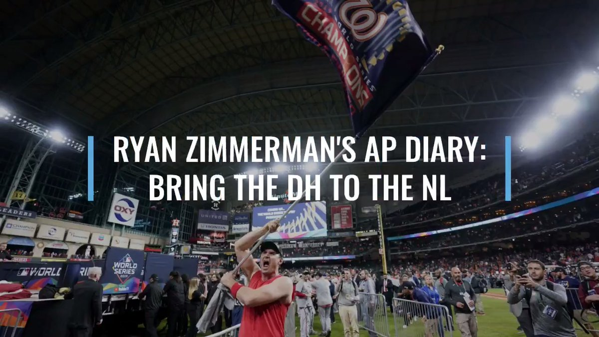"""In his latest AP diary entry, #Nats star Ryan Zimmerman weighs in on adding the DH to the NL: """"Guys like Max Scherzer, Jacob deGrom, Madison Bumgarner—they still work at hitting. But 95% of the pitchers don't really even try anymore.""""  More from Zimmerman: https://t.co/aznwZUTmkt https://t.co/cMnzgp5Rjq"""