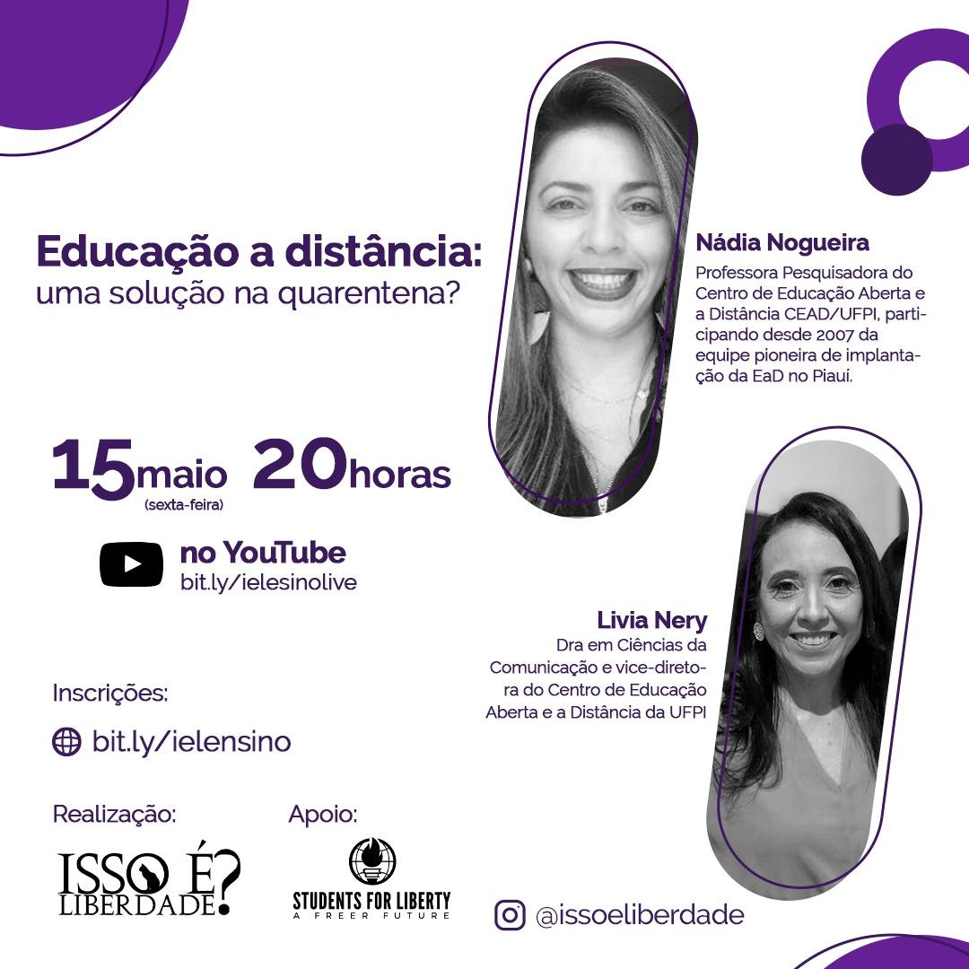 LIVE: Educação a distância: uma solução na quarentena? Instituições de ensino por todo o Brasil se encontram paralisadas devido a pandemia. Nessa situação, como o Ensino a Distância poderia minimizar os danos á educação brasileira? . #ufpi #minhaufpi