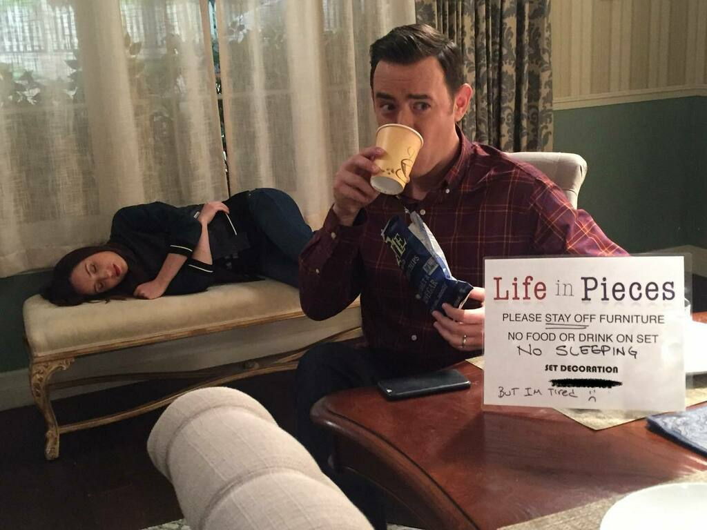 #TBT to a silent moment of rebellion with @zoelisterjones on the set of old Life in Pieces television program. Now available for streaming...somewhere? I don't know. It all depends on which country you're in. Google it. #jenandgreg #lifeinpieces #lastres… https://t.co/NriEKWtlp9 https://t.co/Bjm071eoC0