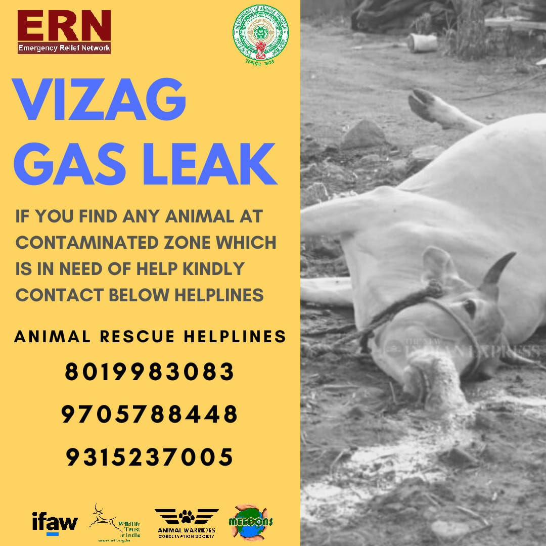 The #VizagGasLeak has affected humans and animals alike. We're extending help for #animalrescues on ground with @MEECONS through #WTI- @ifawglobal #EmergencyReliefNetwork  Helpline numbers in this image. Plz share #Vizagvolunteers #Vizag @vivek4wild https://t.co/sIdFFsyWzb