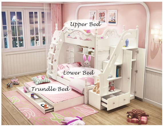 Triple Bunk Bed Kids Double King Single Trundle Princess Dream Children Girl Boy Ebay