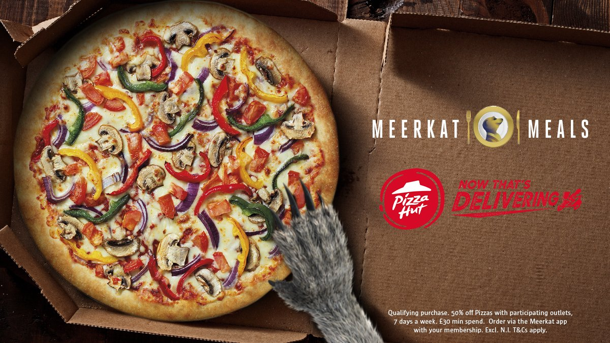 As you can't go out to enjoy your rewards, we'll bring the rewards to you. With 50% off @pizzahutdeliver, 7 days a week for #MeerkatMeals members. #ContactFreeDelivery T&Cs apply. https://t.co/QXHw79DZ7j https://t.co/F6Ivo2XkO9
