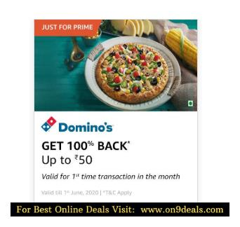 100% Cashback Upto Rs.50 Using Amazon Wallet For The First Time in May on Domino's Pizza