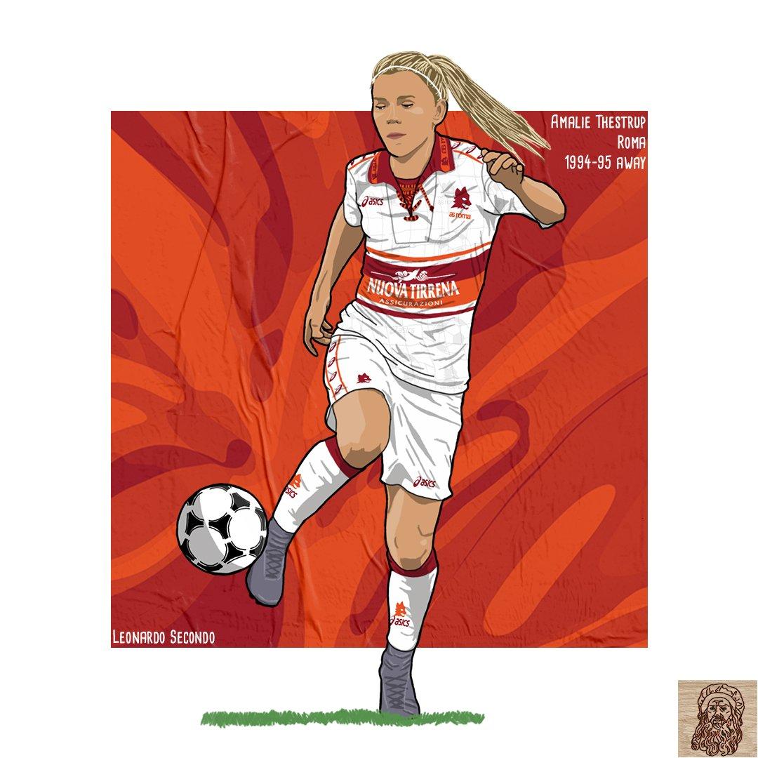 Current @OfficialASRoma players x classic kits / @amaliethestrup x 94-95 away kit 💛❤  #CurrentPlayers #classickits #asroma #SerieAfemminile #calciofemminile #womenfootball @ASRomaFemminile @ASRomaWomen https://t.co/5SF2xZM0eb