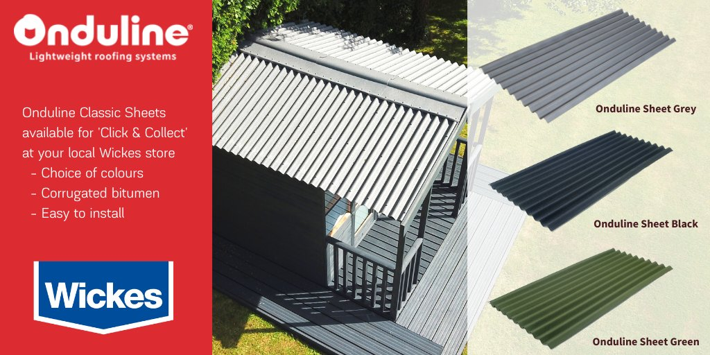 Onduline Uk A Twitter We Have A Selection Of Our Lightweight Roofing Solutions And Accessories Available For Home Delivery And Click And Collect At Your Local Wickes Store Onduline Classic Sheets Https T Co Ew6z9omdnc