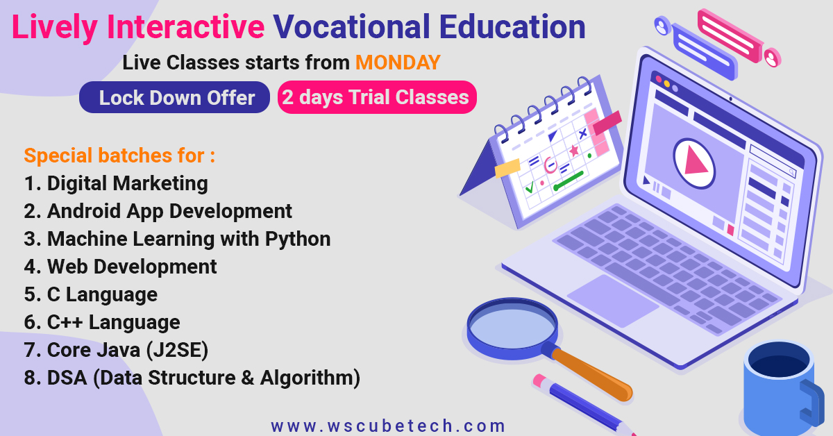 Wscubetech conducting FREE live #classes daily to help in your preparation.  Stay tuned to this space.   Link : https://www.wscubetech.com/   #ProgrammingClasses #OnlineClasses #FreeClasses #wscubetech  #liveclass #onlinepreparation pic.twitter.com/RgZbJJpMxP