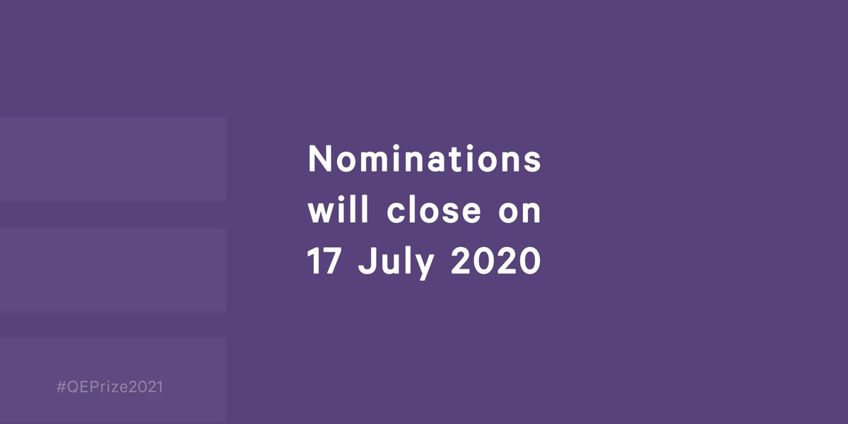 It's the final week to make a nomination for #QEPrize2021! Visit https://t.co/sYpMT9YmZN to get started, and make sure you submit by Friday. https://t.co/Lp1vZH3ewP