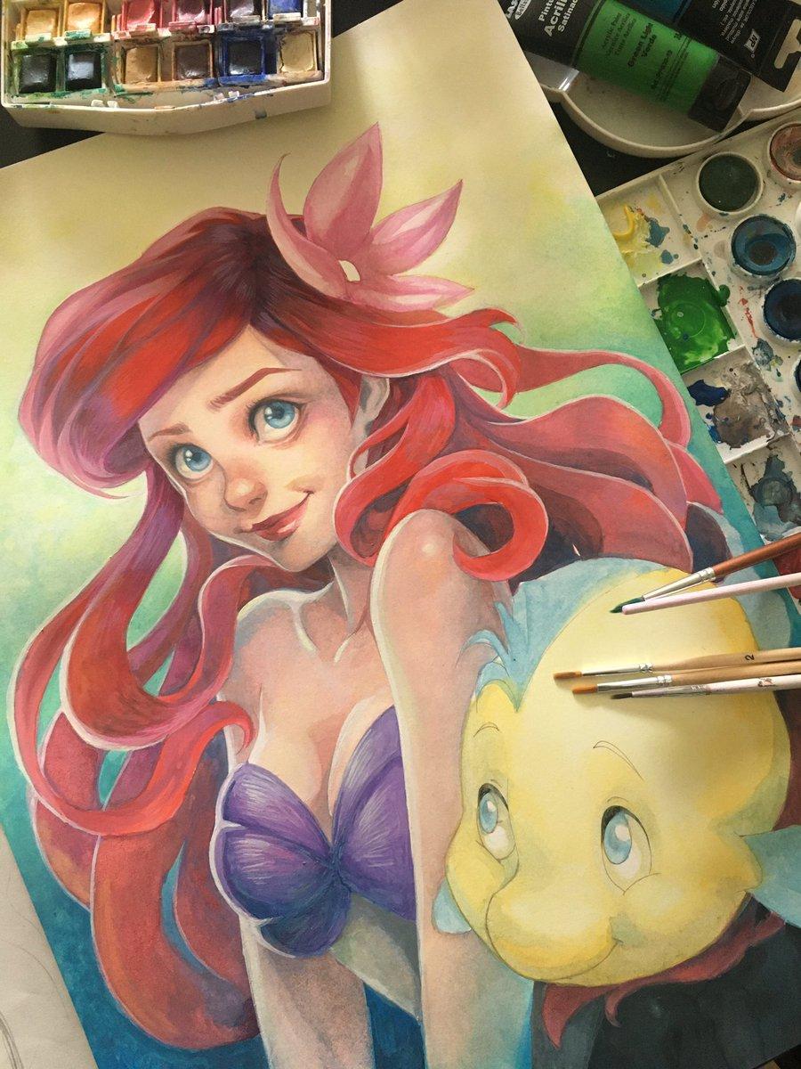 Today , maybe, I finish this illustration ( Aleluya!) xD . . #illustration #princessdisney #disneyfanart #ThelittleMermaid #ariel pic.twitter.com/DMJRoVfBKv