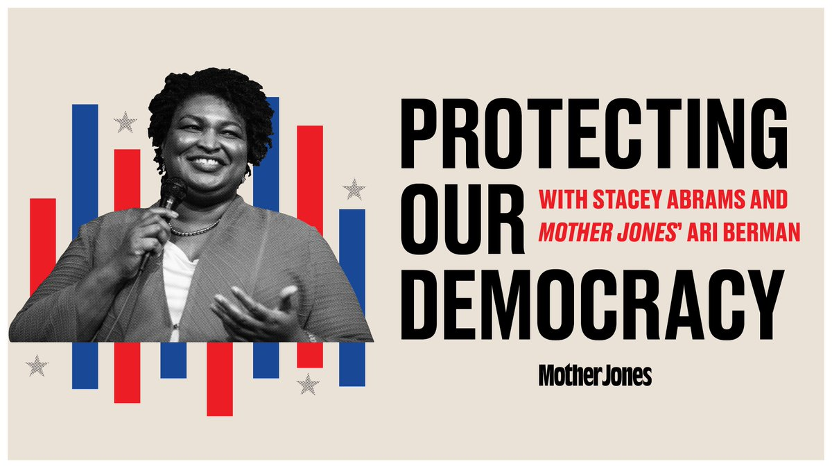 Today at 4 pm ET: Join @staceyabrams and Mother Jones' @AriBerman as they discuss voting rights and the current state of democracy in America. Watch:  Twitter:   Facebook:   YouTube: