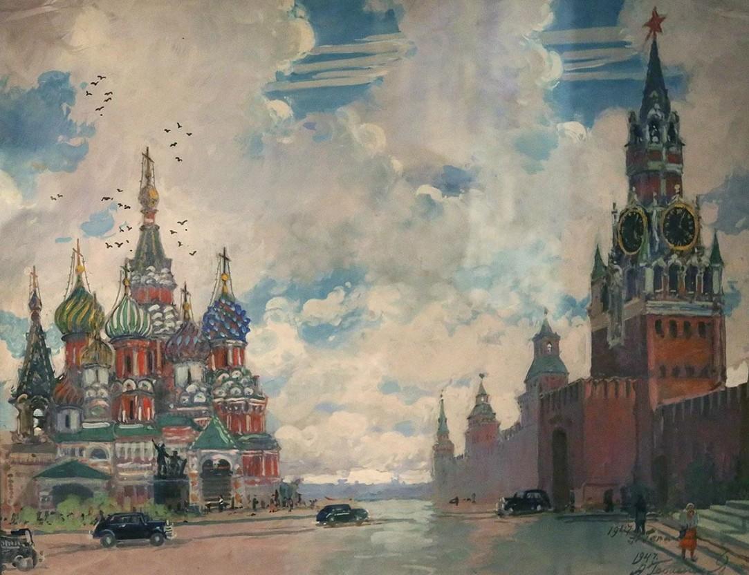 фантазия открытка москва красная площадь 1947 волны