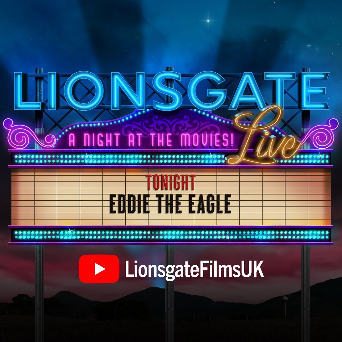 🍿Time to grab the popcorn! Just 10 minutes the next #LionsgateLive starts. This week it's the classic #EddieTheEagle streamed for free at 6pm  > https://t.co/0Crmw4Y9Aw https://t.co/3y7NRZogyb