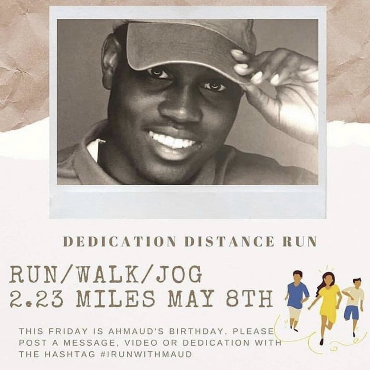 Tomorrow would have been #AhmaudArbery's 26th birthday. Run with me to honor him and raise awareness about racism and injustice in this country. #IrunwithMaud https://t.co/q6xfQwoSnq