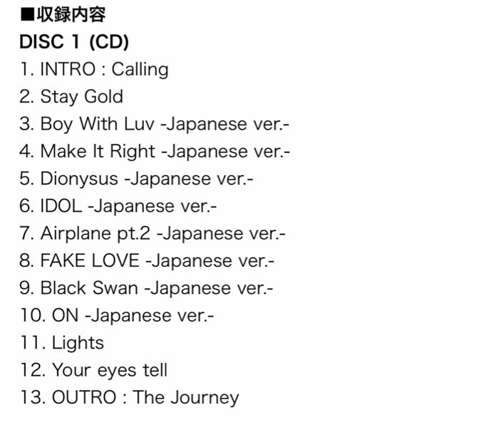 Track List of BTS Map of Soul: Journey