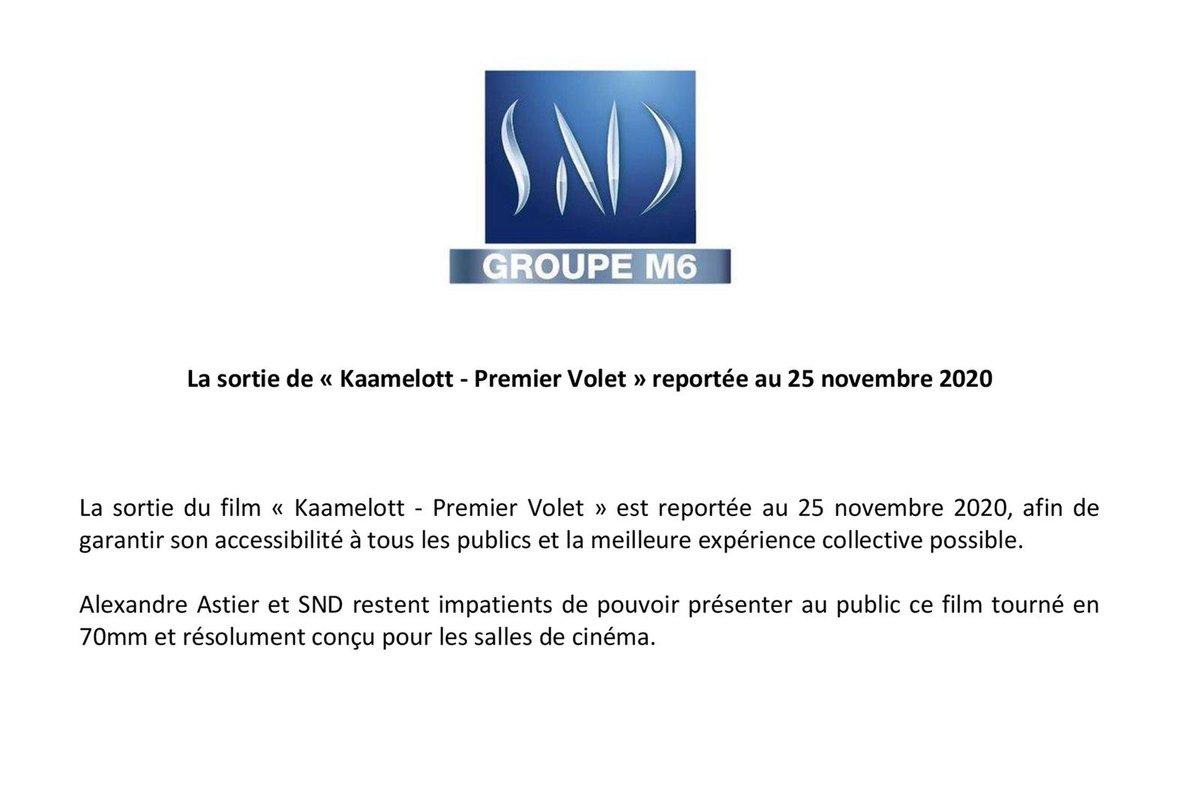 La sortie de #KaamelottPremierVolet reportée au 25 novembre 2020. https://t.co/USalI2nSvJ