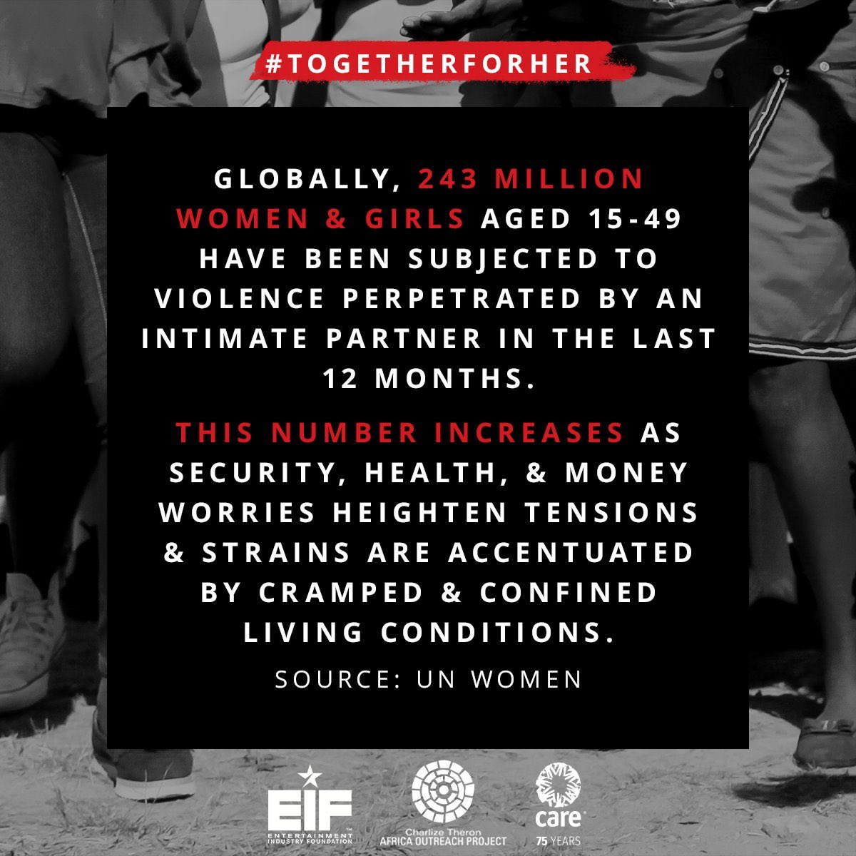 1/3 women will experience gender-based violence. #COVID19 is exacerbating this––so I'm standing #TogetherForHer with @CharlizeAfrica, @CTAOP, @CARE & @EIFoundation in spotlighting & donating to interventions to keep women & girls safe from abuse. Join us: buff.ly/2SGduD6