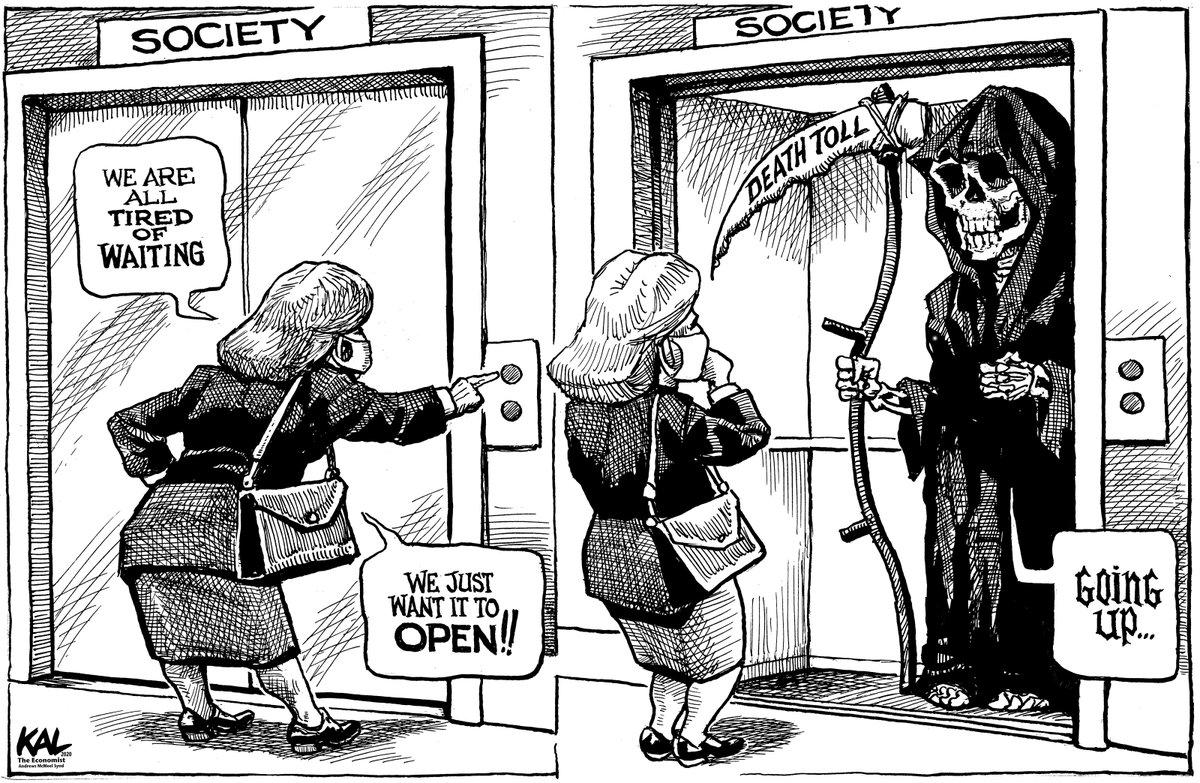 Kevin Kal Kallaugher On Twitter Opening Problems My Latest From Theeconomist Coronavirus Openamericanow Satire Cartoons Cartooningforsolidarity Https T Co Gppx8ogyus