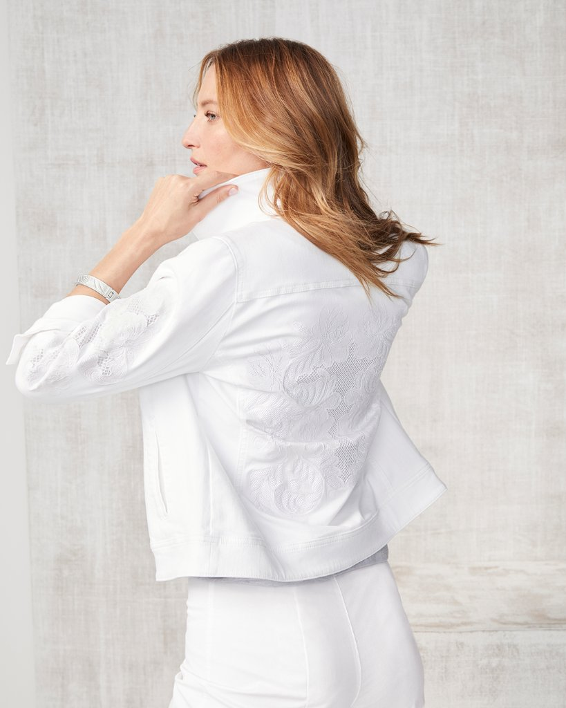 A classic white denim jacket with an unexpected, embroidered twist! Click the link to shop: https://t.co/jpgsDq9BMh. https://t.co/QUt1LUrm0g