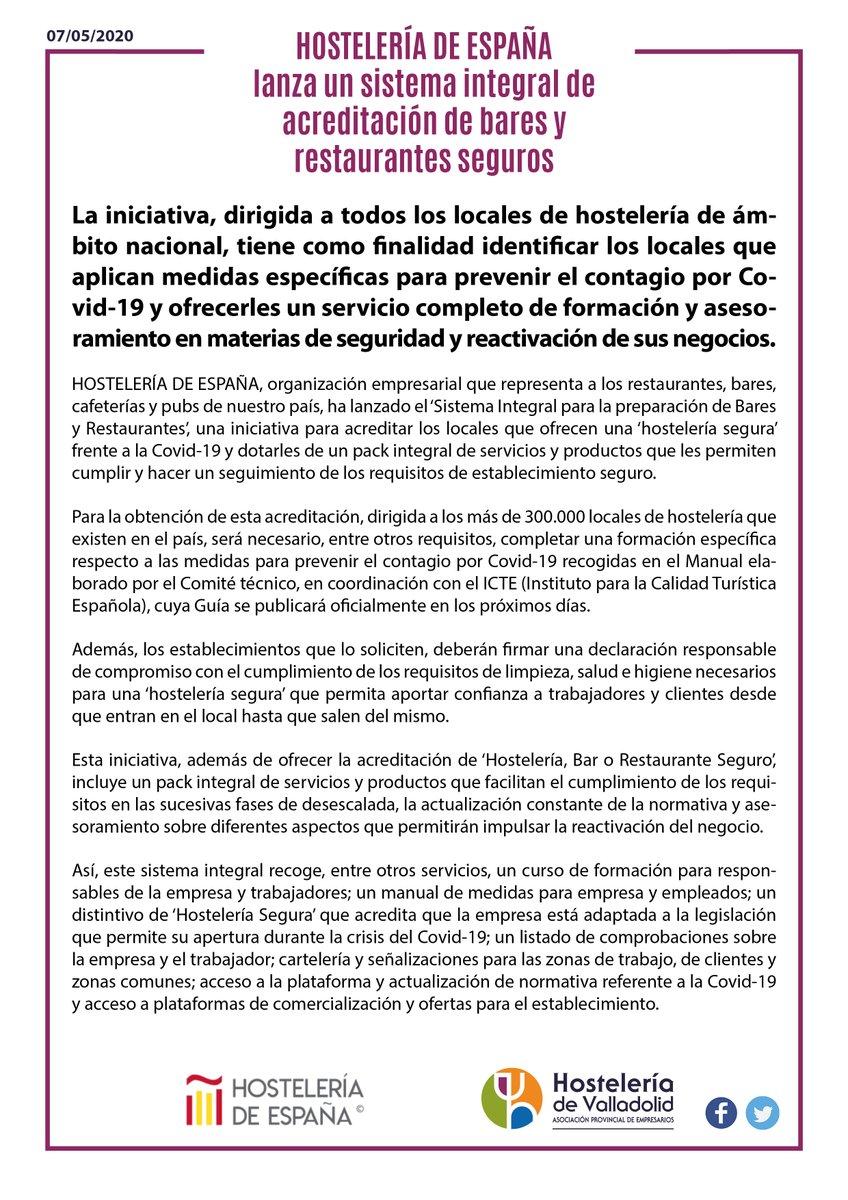 #HosteleríaEspaña lanza un sistema integral de acreditación de #bares y #restaurantes seguros, una iniciativa para autentificar los locales que ofrecen una '#HosteleríaSegura' frente a la #COVID19. @CEHEhosteleria