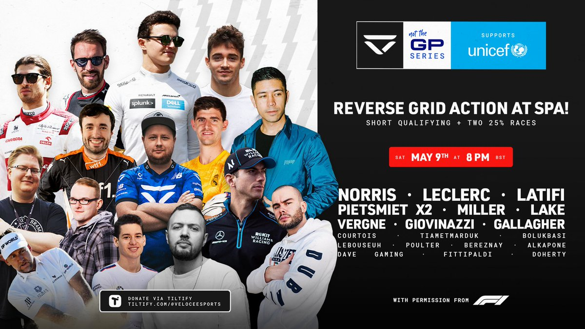 🛣️ #NotTheGP takes on Spa - Belgium 🇧🇪  (@circuitspa)  ⌚ 8 pm BST this SATURDAY! ⏰ Set your REMINDER via the link! 💙 One last push for @Unicef_uk, please donate generously if you can, also via the link. https://t.co/pl4PBlCqsK https://t.co/RU8ioaULfl