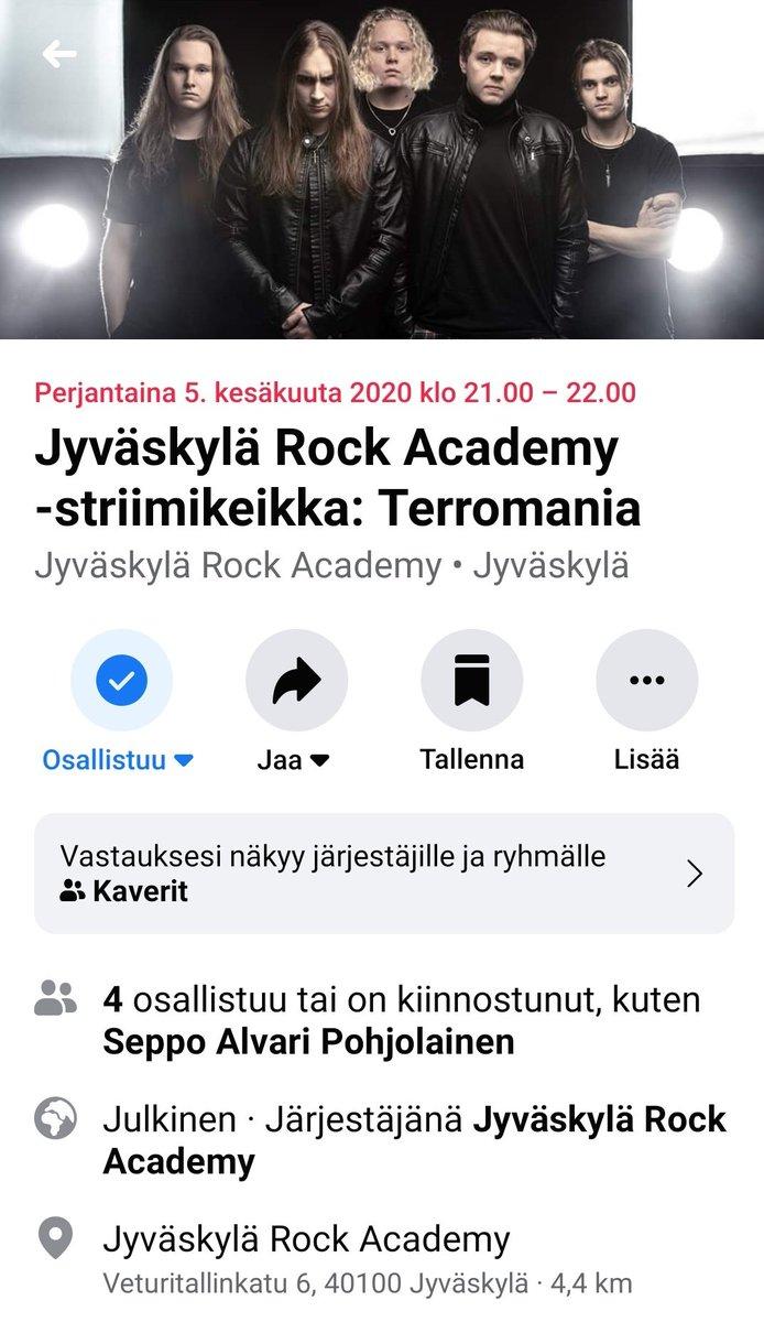 5.6.2020 We are playing a gig at Youtube! This is new to us, so let's see how it goes! #terromania #groovemetal #berealtoyourself #fightininnerdarkness #chapmanguitars #hughesandkettner #warwickbass #dunlop #jacksonguitars #laney #jullenaattori2000 #tama #kuolema #warwickbasspic.twitter.com/IjhIJX8lJL – at Jyväskylä