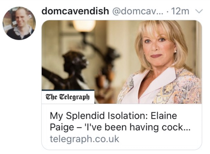 "I think I need to clarify to @Telegraph readers, who may have seen the truncated headline, that the full quote is .... ""I've been having cocktails parties on Zoom"" ... really, matron!! #carryonisolation https://t.co/1bx9dPw34Z"