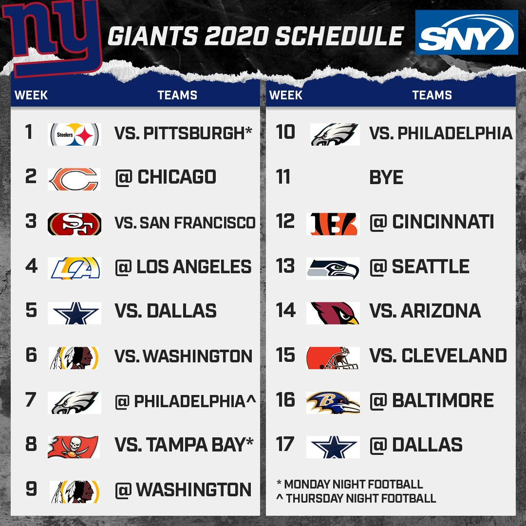 The schedule for the 2020 New York Football Giants.