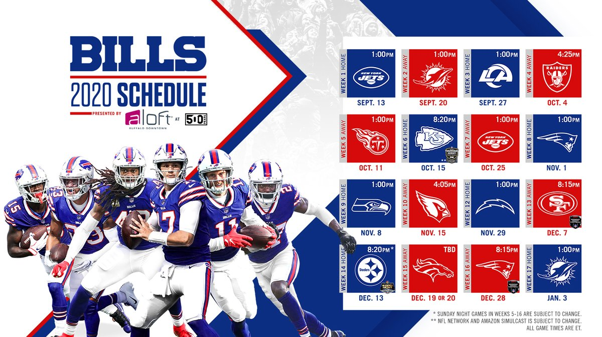🚨 IT'S HERE! 🚨  Your 2020 Buffalo Bills schedule. #GoBills https://t.co/ArTQEYf2ii