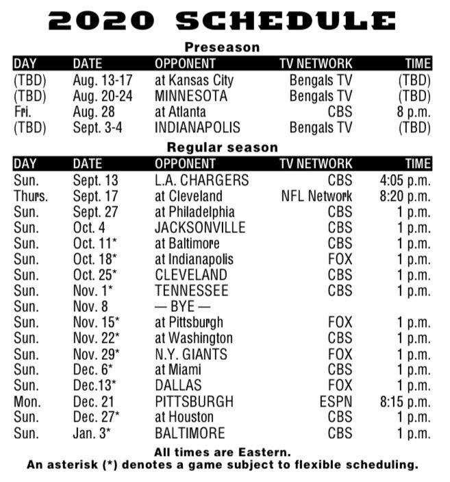 The #Bengals full 2020 schedule