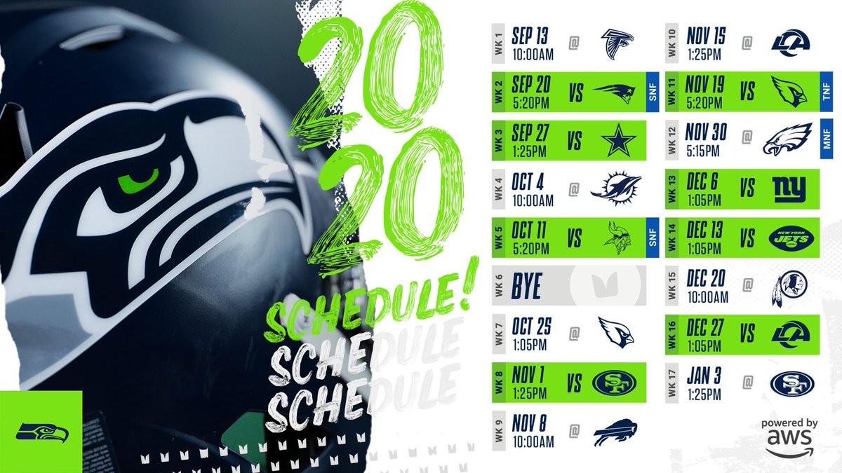"""Pete Carroll on Twitter: """"The @Seahawks 2020 schedule! Be sure to ..."""