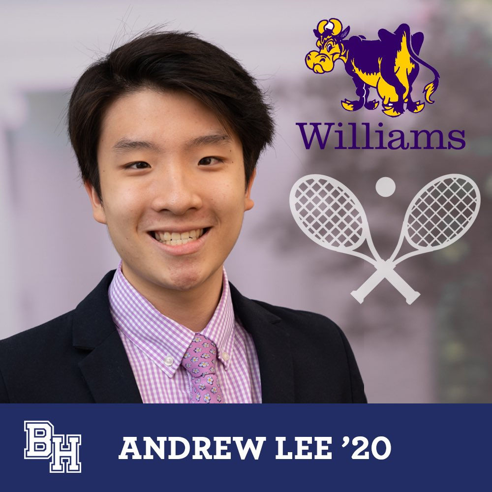 Class of 2020 senior spotlight on Andrew Jinhee Lee who was recruited to play squash at Williams #belmonthill2020