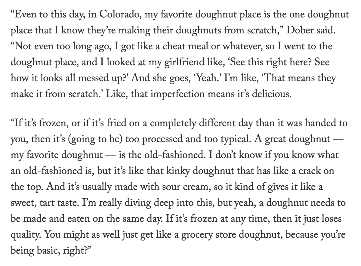 For @TheAthletic's early jobs series, I knew I had to speak to the UFC's toughest baker turned fighter.  And let me tell you what, folks...you don't know real hunger until you sit down and listen to @DrewDober go deep into what makes the perfect doughnut.  https://t.co/151vGIhsaR https://t.co/9uo5OayumC