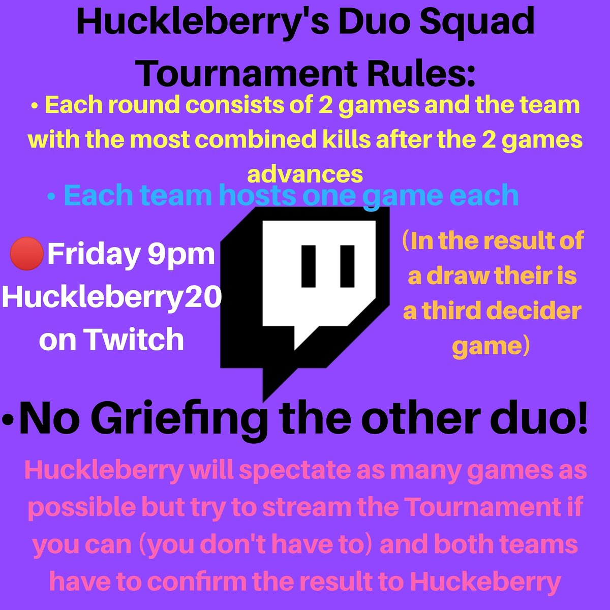 The official rules for the Duo Squad Tournament tomorrow  If you haven't messaged me you and your duo do it asap only 23 hours to go! #twitchtv #fortnite #fortnitetournament #duosquad #prize #SmallStreamersConnect #SmallStreamerCommunitypic.twitter.com/4grtMgJhcy