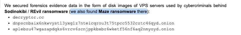 2020-05-06:🔥[Ransomware TTP] Possible Overlap Between #REvil & #Maze #Ransomware Affiliate on VPS🤔 Popular Open Source Pentesting Tools via Pulse VPN Exploit #CVE201911510: ADRecon CrackMapExec ghost secretsdump mimikatz Metasploit PowerSploit PsTools blog.redteam.pl/2020/05/sodino…
