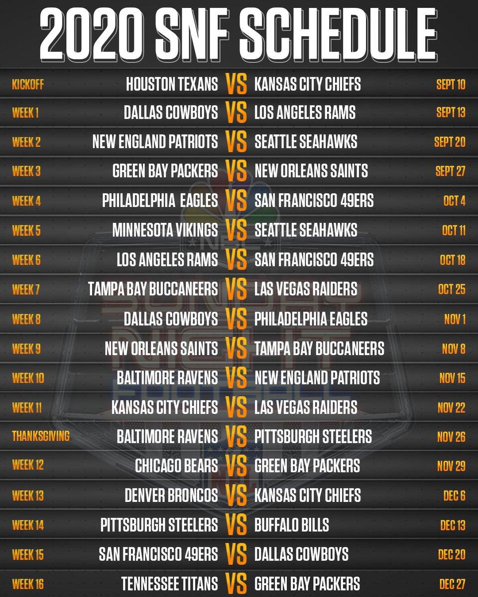 Sunday Night Football On Twitter Been Waitin All Day For This The 2020 Sunday Night Football Schedule Is Here