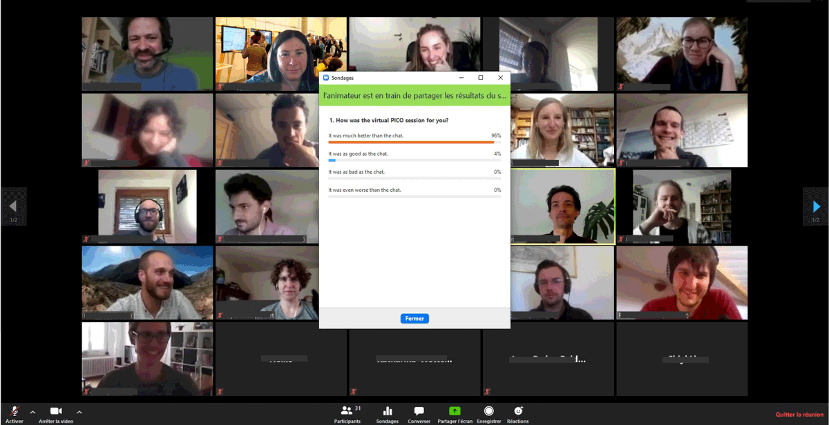 We acknowledge that the poll is biased even if the conveners did not vote. Nevertheless: if after 2.5hours of online meeting you get these faces, it might be fair to say that the first breakoutrooms-based digital-#PICO #shareEGU2020 session worked pretty well!:-) @EuroGeosciences