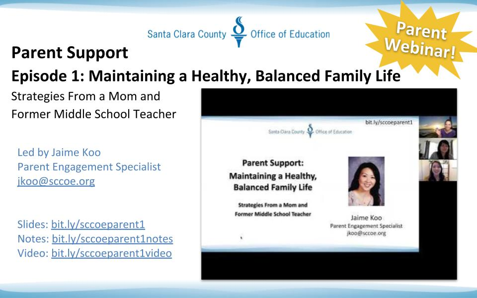 Congratulations to @encouraginglit for a successful @SCCOE Parent Support Webinar on Maintaining a Healthy, Balanced Family Life! #WeAreSCCOE In case you missed it, heres the link with the recording: 🔗 bit.ly/2xNdxWK 🔗