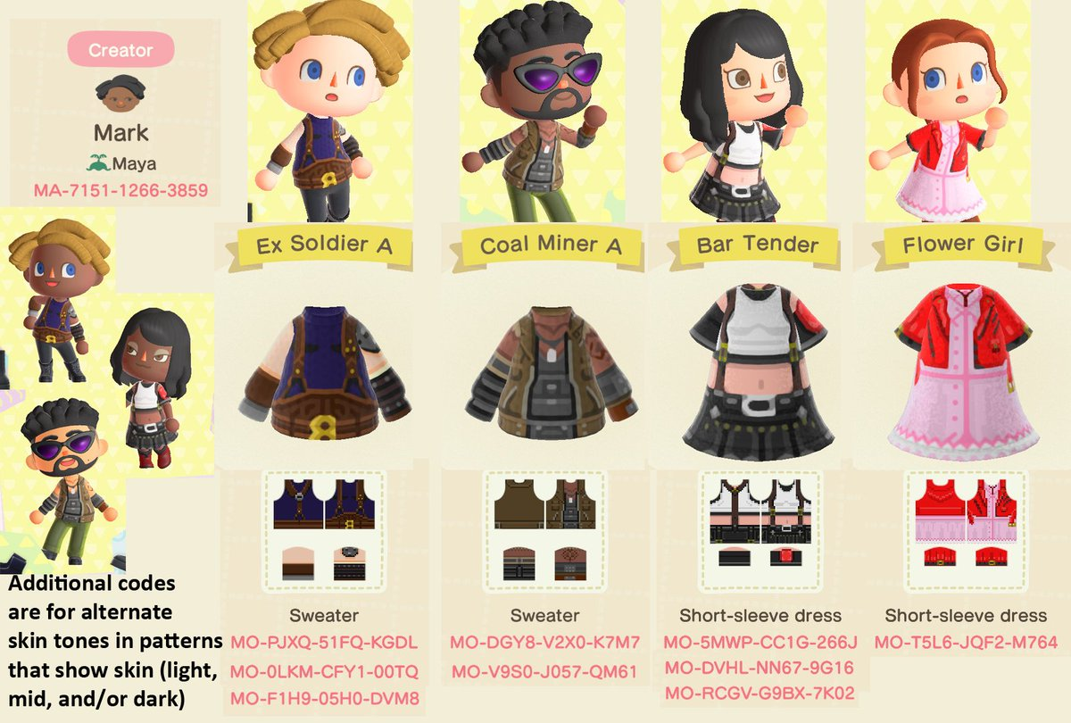 The #FF7R party patterns all in one place~ #AnimalCrossingNewHorizons  #ACNHDesigns https://t.co/Fs58bmA8Kz