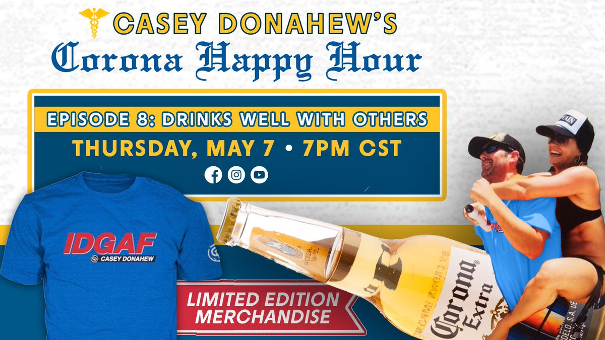 Here we go. Episode 8: Drinks Well With Others #coronahappyhour #IGDAF TUNE IN: facebook.com/CaseyDonahewBa…