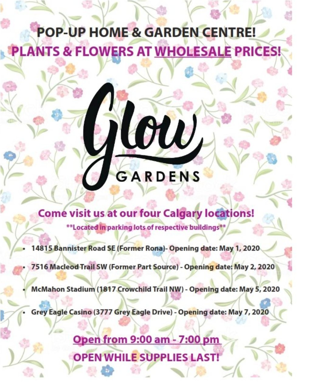 Mike Morrison On Twitter Glow Garden Is A Local Nursery That Had 20m Worth Of Inventory Canceled Due To Covid 19 So Now They Have Pop Up Garden Centres Around The City And Are Selling Everything For Wholesale We Just Checked It Out And Prices