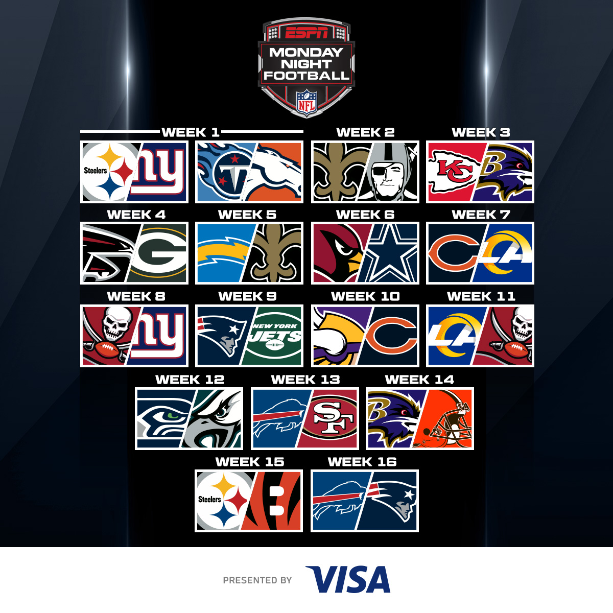 Nfl On Twitter The 2020 Monday Night Football Schedule By Visa 2020 Nfl Schedule Release Live Now On Nflnetwork