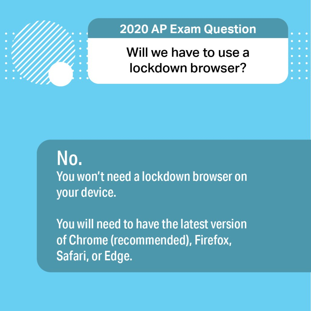 Q: Will we have to use a lockdown browser for this year's AP Exams? A: 👇