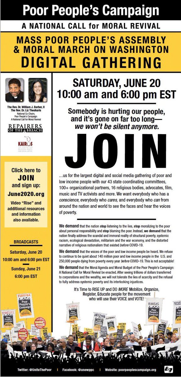 Join the #PoorPeopleCampaign on June 20, 2020